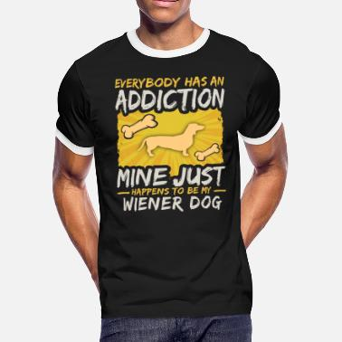 Wiener Quotes Wiener Dog Funny Dog Addiction - Men's Ringer T-Shirt