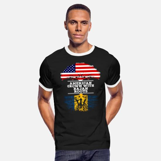 Birthday T-Shirts - American Grown With Bajan Roots - Men's Ringer T-Shirt black/white