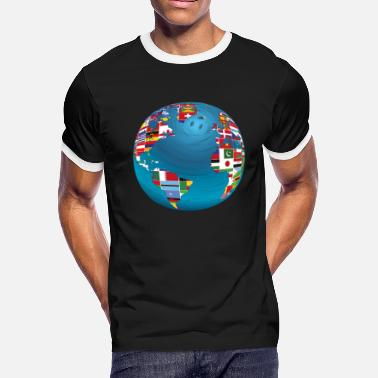 Canada Map World Map Globe Atlas National Flags Earth Day - Men's Ringer T-Shirt