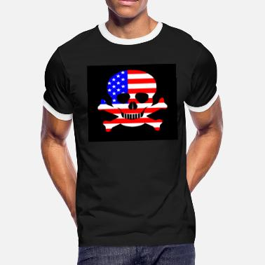 Stars And Stripes Skull and Crossbones - Men's Ringer T-Shirt