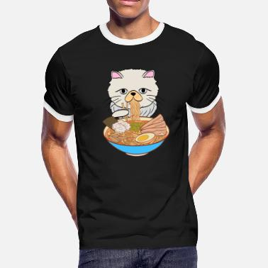 Noodle Bowl Egg Lover Cats Eating Noodles Out Of A Ramen Bowl Tshirt - Men's Ringer T-Shirt