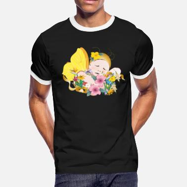 Dream Child dreaming child with wings amidst flowers - Men's Ringer T-Shirt