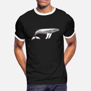 Humpback whale ink black and white - Men's Ringer T-Shirt