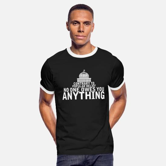 Digital T-Shirts - Contrary To Popular Belief - Men's Ringer T-Shirt black/white