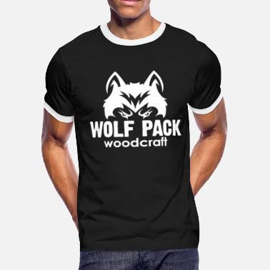 c6ddf6151 Wolf Logo White Wolf Pack Woodcraft Logo - Men's Ringer T-