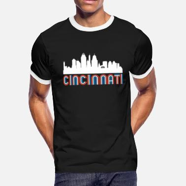 Red White Blue Cincinnati Ohio Skyline - Men's Ringer T-Shirt