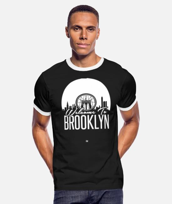 Greeting T-Shirts - Welcome To Brooklyn - Men's Ringer T-Shirt black/white