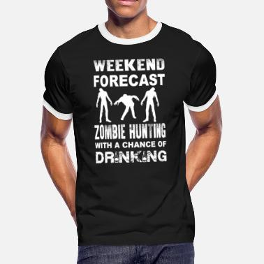 Zombie Hunting Zombie - Zombie hunting with a chance of drinkin - Men's Ringer T-Shirt