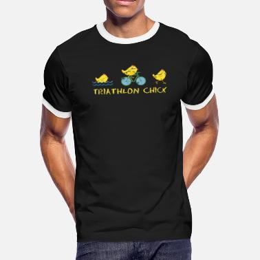 Chicken Cycling Chick Triathlon - Men's Ringer T-Shirt