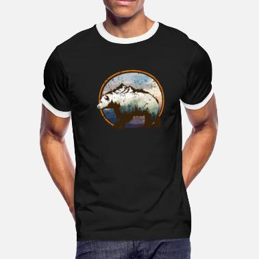 Grizzly Bear Grizzly Bear Brown Bear Polyscape Gift Idea - Men's Ringer T-Shirt