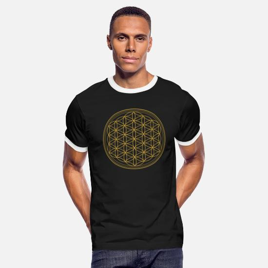 Life Flower T-Shirts - Flower of Life - Men's Ringer T-Shirt black/white