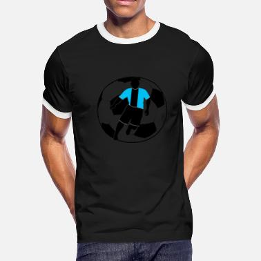 Football Player Football players - Silouette with football - Men's Ringer T-Shirt