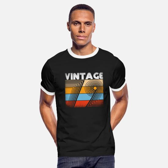 Born T-Shirts - 47th Birthday 1972 Vintage Retro Clothing Gift Tee - Men's Ringer T-Shirt black/white