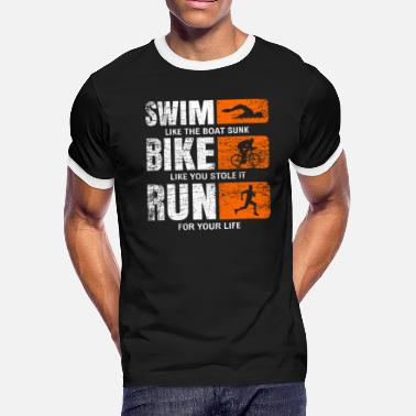 Triathlet swimming cycling racing triathlete - Men's Ringer T-Shirt