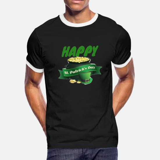 66b35472 Happy St. Patrick's Day Pot of Gold Fun Men's Ringer T-Shirt ...