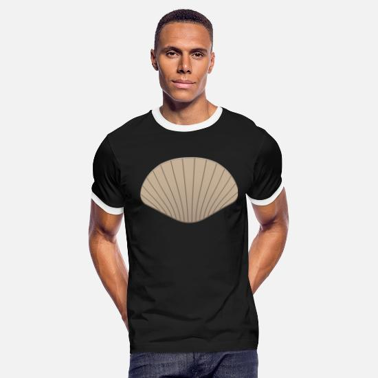P49-scallop T-Shirts - Scallop Shell Conch Clam Mussels Mussel Gift Cower - Men's Ringer T-Shirt black/white