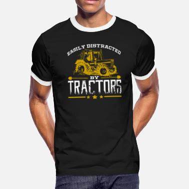 Distracted Tractors Easily Distracted By Tractors Tractor Farmer - Men's Ringer T-Shirt
