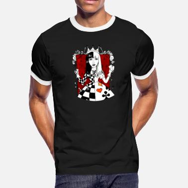 Queen Of Hearts Playing Cards Queen of Hearts Shirt - Men's Ringer T-Shirt