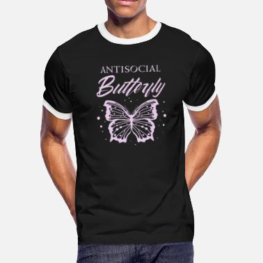 Solitary Antisocial Butterfly Design| Funny Introvert - Men's Ringer T-Shirt