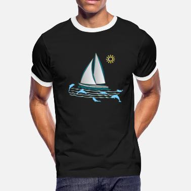 Dolphin Boat Lake Sea Sailing - Men's Ringer T-Shirt
