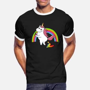 Cute Rainbow Poop Pooping Unicorn Rainbow - Men's Ringer T-Shirt