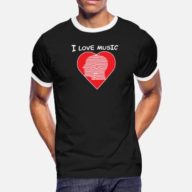 I Love Head Heart I love music ,heart - Men's Ringer T-Shirt