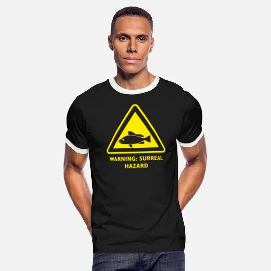 Amazing T-Shirts - Surreal Art Hazzard Warning Sign Fish - Men's Ringer T-Shirt black/white