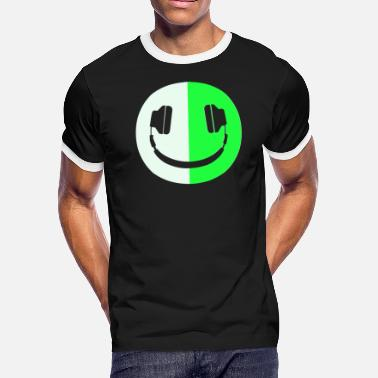 Smiley Headphones Glow In The Dark Headphone Smiley - Men's Ringer T-Shirt