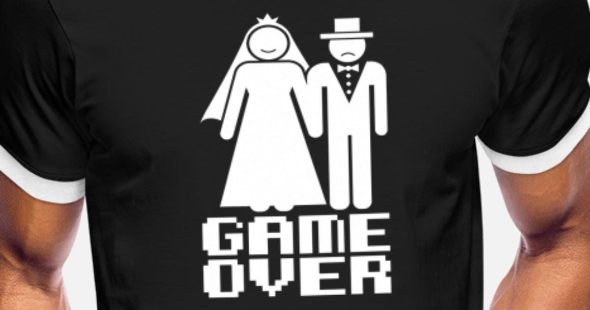 578a0cc9 Game Over Funny Wedding Bachelor Party Novelty Men's Ringer T-Shirt |  Spreadshirt