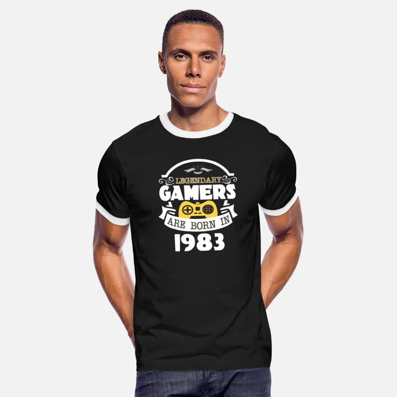 Vintage Premium Quality 1983 Aged To Perfection T-Shirts - Legendary Gamers Are Born In 1983 - Men's Ringer T-Shirt black/white