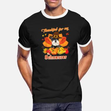 Fall Of The Wall Thankful For My Schnauzer Dog Thanksgiving - Men's Ringer T-Shirt