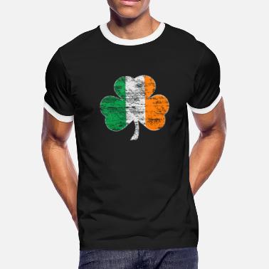 Mens Shredded Ireland Clover Flag Tee White Trim Black Tank Top Black