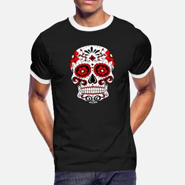 Red White And Blue Skulls Decorative white skull, red - Men's Ringer T-Shirt