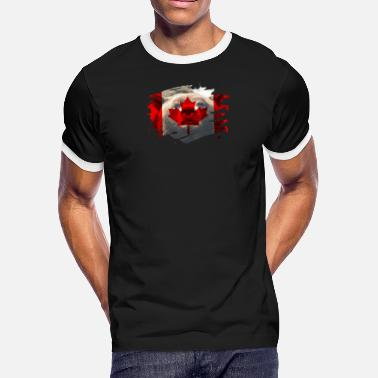 Canadian Bears Canada Flag & Bear - Canadian Pride Design - Men's Ringer T-Shirt