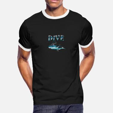 Water Match diving under water for Ocean Water sport lovers - Men's Ringer T-Shirt