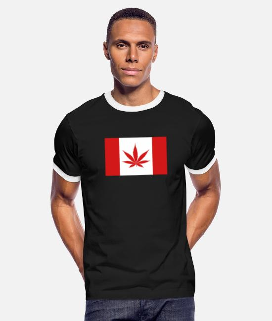 Canada Flag T-Shirts - canada weed flag - Men's Ringer T-Shirt black/white