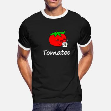 Cartoon Tomato Funny Tomatee A tomato that likes to drink tea - Men's Ringer T-Shirt