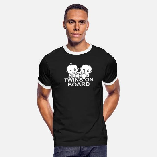 Movie T-Shirts - Twins on Board - Men's Ringer T-Shirt black/white
