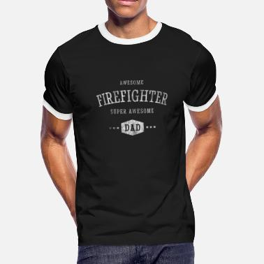 Awesome Firefighter SuperAwesome Dad - Men's Ringer T-Shirt
