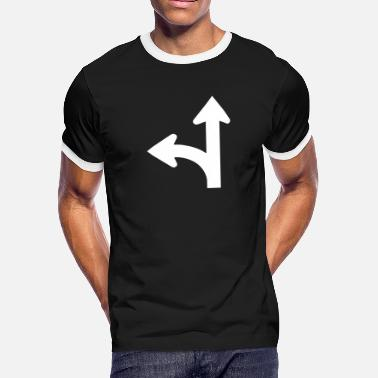 Road Sign Road signs series - go straight or left - Men's Ringer T-Shirt