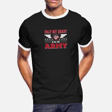 8e3013d9dc428c Army Mom Heart Half My Heart Is In The Army Army Mom - Men'. Men's  Ringer T-Shirt