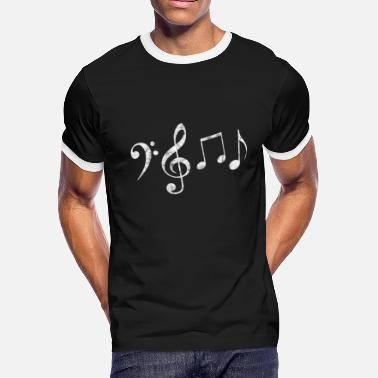 Bass Clef Notes Bass clef, clef, music notes gift - Men's Ringer T-Shirt