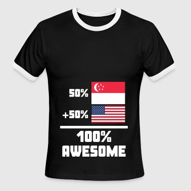 50% Singaporean 50% American 100% Awesome Flag - Men's Ringer T-Shirt