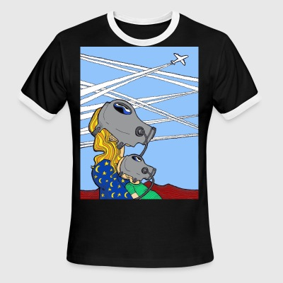 Conspiracy Theory Dave The Cat Chemtrails - Men's Ringer T-Shirt