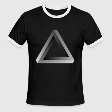 impossible 3-sided shape visual optical illusion - Men's Ringer T-Shirt