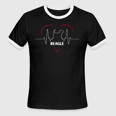 Awesome Beagle T Shirt Beagle Silhouette Heartbeat - Men's Ringer T-Shirt