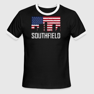Southfield Michigan Skyline American Flag - Men's Ringer T-Shirt