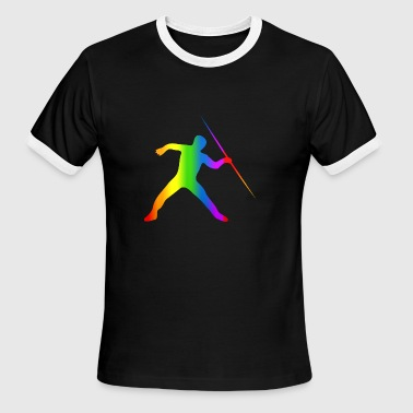 Colorful Javelin Throw Rainbow - Men's Ringer T-Shirt