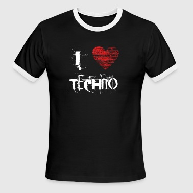 I love techno rave goa hardtek hard - Men's Ringer T-Shirt