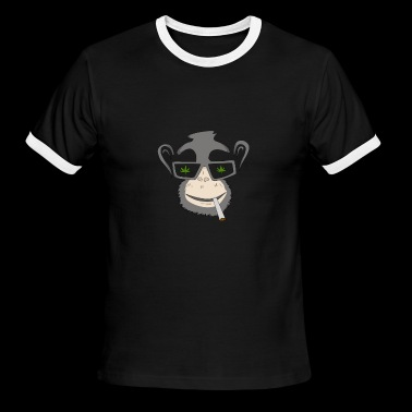 Monkey with Marijuana Weed cannabis - Men's Ringer T-Shirt